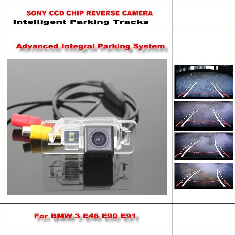 Caméra arrière intelligente de voiture de voies de stationnement pour BMW 3 E46 CSL E90 E90N E91 sauvegarde inverse/NTSC RCA AUX HD SONY 580 lignes de télévision