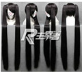 heat resistant Party hair Free shipping>>>Hot Sell! New Vocaloid Zatsune Miku 2 x clip ponytail BRS BLACK ROCK SHOOTER Wig