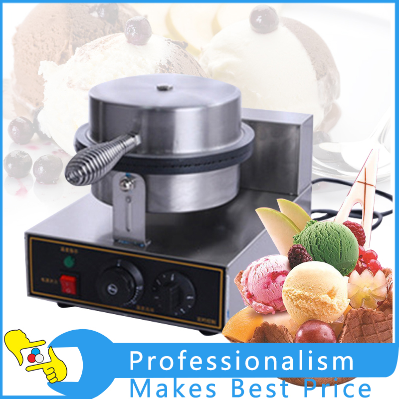 Single Head Commercial Nonstick Electric Ice Cream Cone Machine Ice Cream Egg Roll Maker chinese single round pan rolled ice cream machine fried ice cream roll machine with 6 barrels