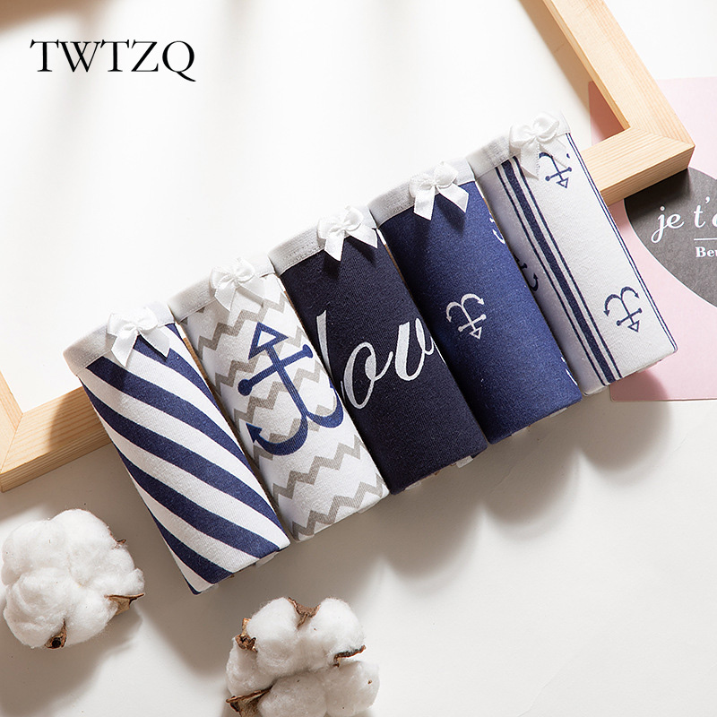 TWTZQ Sexy Panties For Women Underwear Navy Style Cotton Briefs Anchor Print Breathable Female Lingerie Underpants