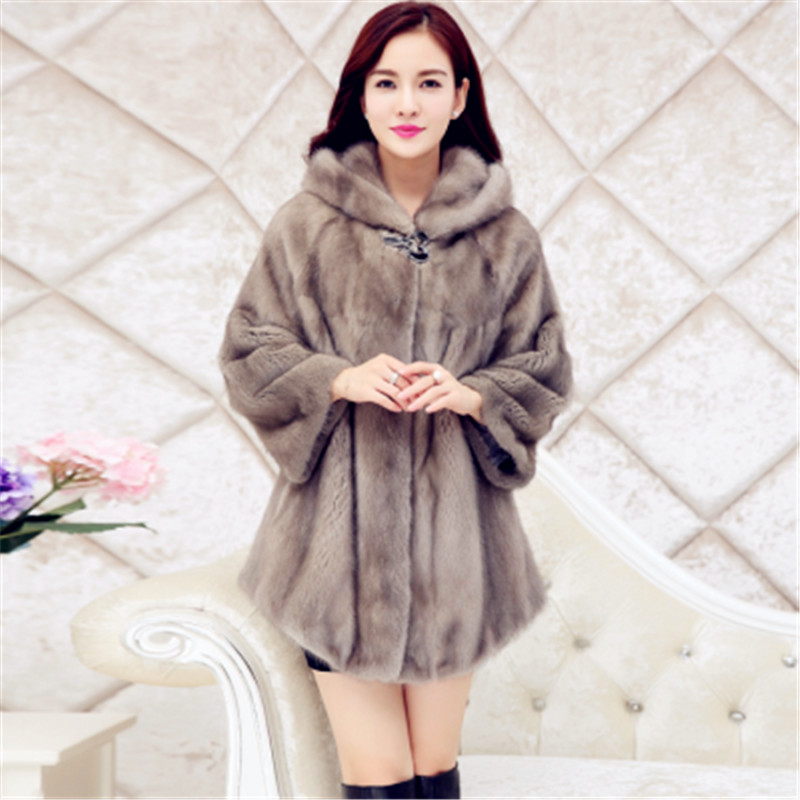 Long Hooded Swing United Women's Europe khaki Winter Water black White States The Warm Clothing New Coat Large Skirt Suede And Mink Thick Fur xvqUZ