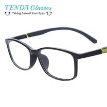 Men TR90 Medium  Full Rim Eyeglasses Frame Woman Lightweight Square Glasses For Reading Myopia Lenses