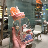 Cute Pink Straw Glass Cup Girl Heart Large Capacity Creative Portable Student Cup Drink Glass with Lid Brief My Water Bottles 5