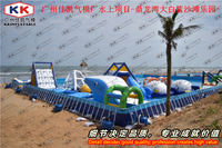 Outdoor Beach Large Aqua Park Inflatable Water Toys Game With Steel Pool