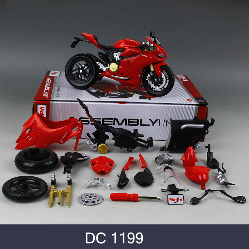 MAISTO Ducati 1199 696 Motorcycle Model Kit 1:12 Scale Metal Assembly DIY Motorcycle Bike Model Kit Toy For Gift Collection