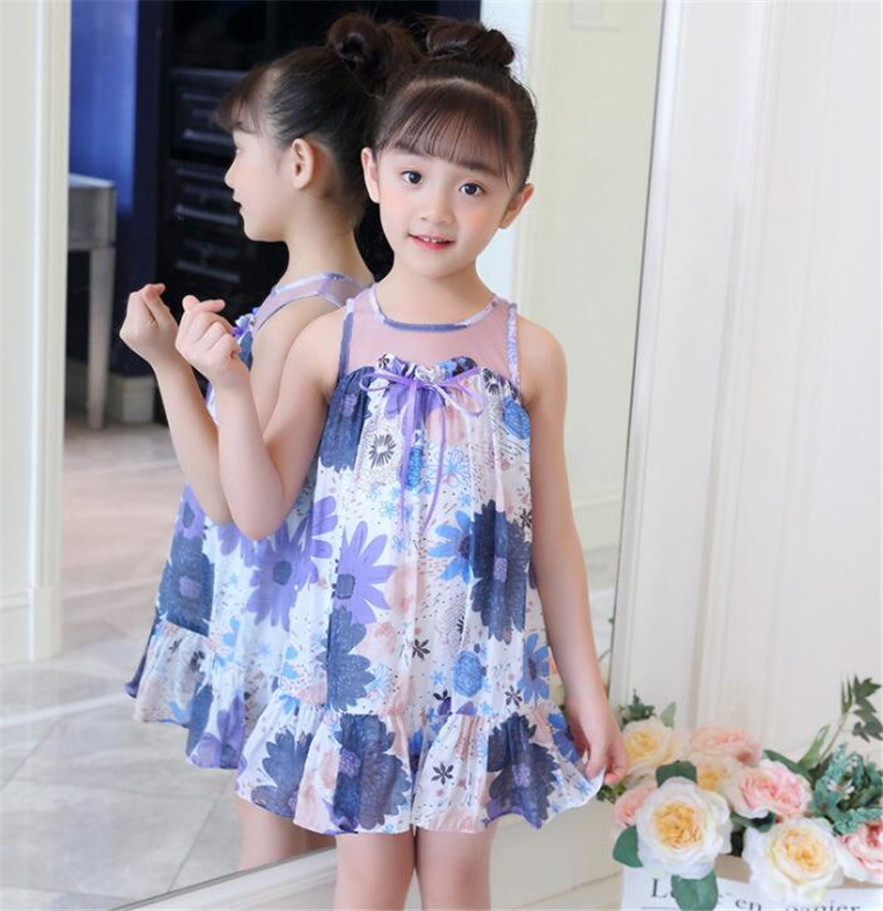 bedf406ed5a Summer Dresses Girls Print Floral Dress Children Sleeveless Mesh Bow Kids  Dresses Teenage Costumes For Girls