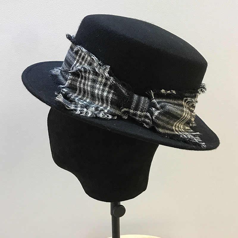 Fghgf Wanita 100% Wol Merasa Topi Fedora Busur Lebar Brim Klasik Pork Pie Topi Datar Gereja Derby Cap