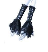 RQ Serie Inverno Lolita Style Ragazze Lace Manicotti Bella Black & White Arm Warmer Con Bowknot Guanti Senza Dita Per donne 1016