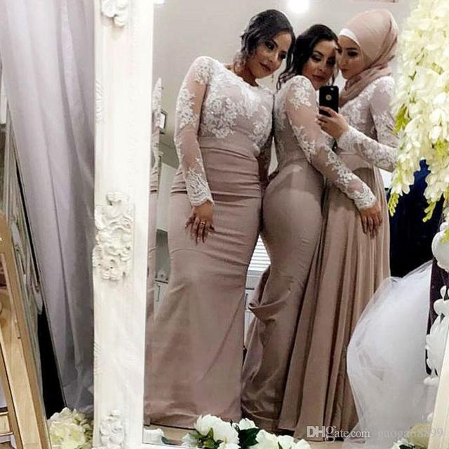 White Lace Nude Long Sleeve Bridesmaid Dresses Muslim Arabic Wedding Party Gowns Plus -7633