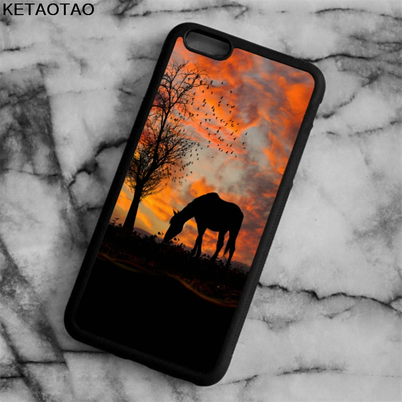 KETAOTAO Hot Sale Horse sunset Phone Cases for iPhone 4S 5S 6 6S 7 8 X PLUS for Samsung S7 8 NOTE Case Soft TPU Rubber Silicone