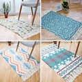 הודי כותנה בעבודת יד ארוג שטיחים באזור משובץ לבדוק פסים גדילים שטיח עמיד מכונת רחיץ שטיח לסלון/חדר שינה