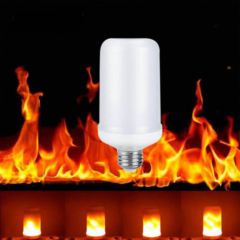 2018 High Quaility LED Flame Lamp E27 2835SMD Fire Effect Light Bulb 7W LED Bulbs 3 Mode+Gravity Sensor Flickering Holiday Lamps