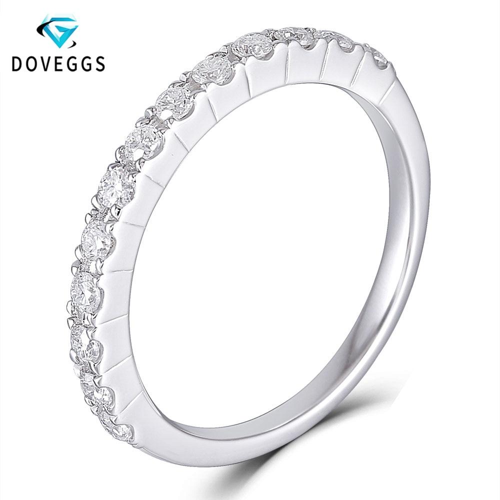 DovEggs Sterling 925 Sliver 0 4ctw GH Color Moissanite Diamond Wedding Bands for Women Platinum Plated