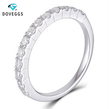 DovEggs Sterling 925 Sliver 0.4ctw GH Color Moissanite Diamond Wedding Bands for Women Platinum Plated Silver Stackable Ring