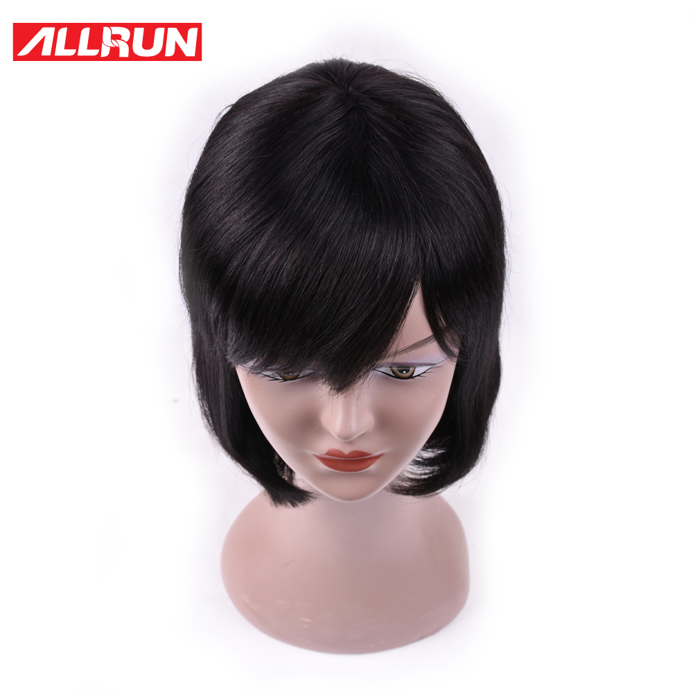 ALLRUN 100% Human Hair Wigs Indian Density 130% Short Cut Bob Wig Natural Color Double Machine Made Non Remy Hair