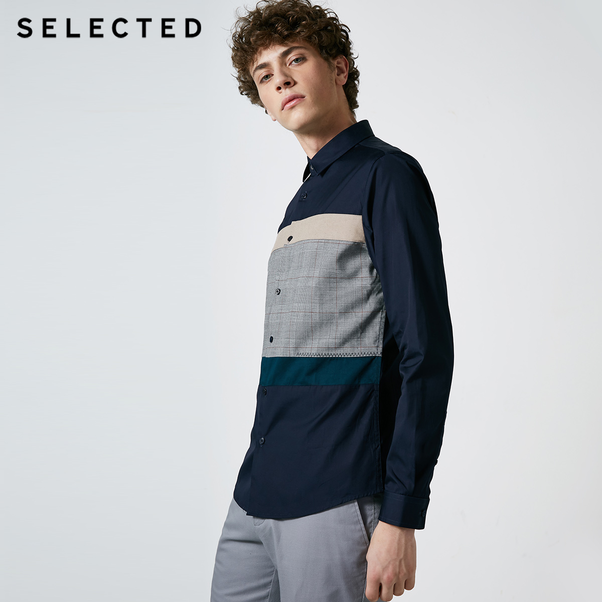 Image 2 - SELECTED New Mens Cotton Lattice Stitching Business Leisure Long Sleeve Shirt S  418405548Casual Shirts