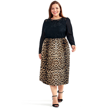 Vintage Plus Size Skirts for Women Leopard Print Comfortable Casual High Waist Straight Stretch Long Skirt 1