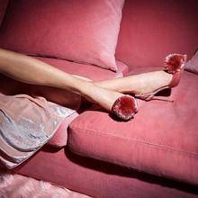 Sandalia feminina sexy summer gladiator sandals women Pompom high heels stiletto red black fur slingback runway shoes