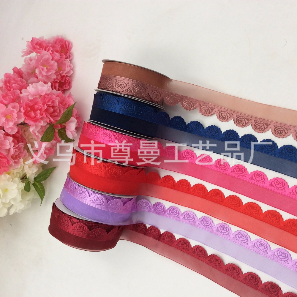 Ribbon Half Rose Yarn And Clothing Home Accessories Polyester Ultrasonic Embossed Cake Box Gift Packaging Material