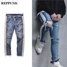 7c6d30156dc890 REPPUNK Zerrissene jeans männer Knie Loch Seite Zipper Dünne Distressed  dünne Jeans streetwear männlichen hip hop