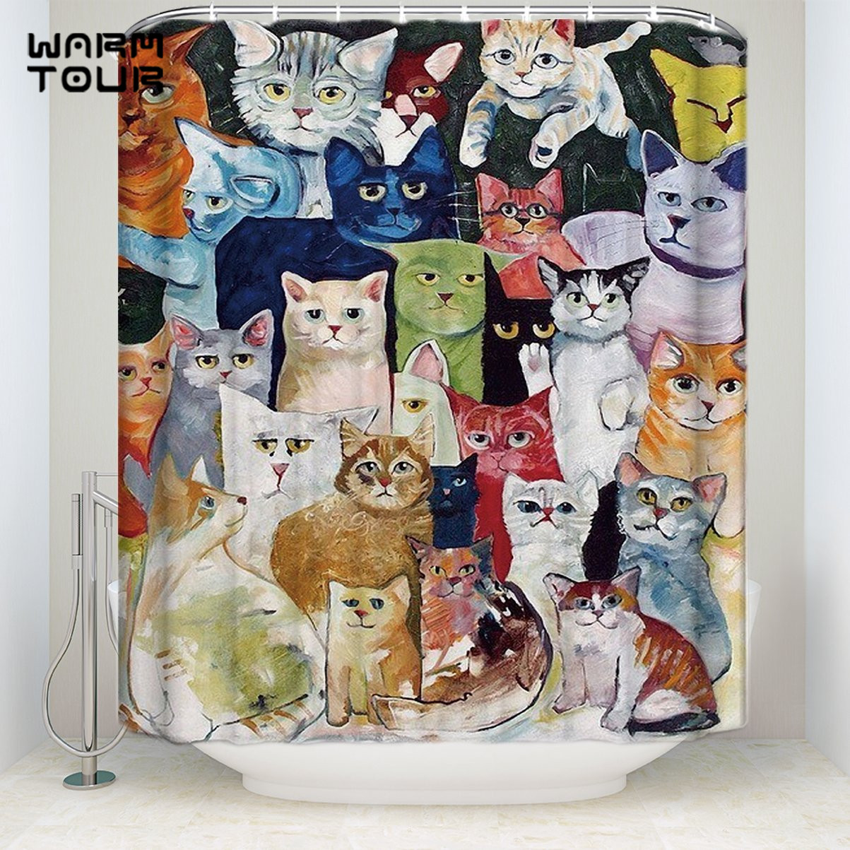 Extra Long Fabric Bath Shower Curtains Funny Cats Flurry Mildew Resistant Bathroom Decor Sets With Hooks