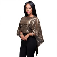 Batwing Sleeve Sequined Cape Cloak Tops Fashion Women Black Rose Gold Backless Crop Top Summer Clubwear