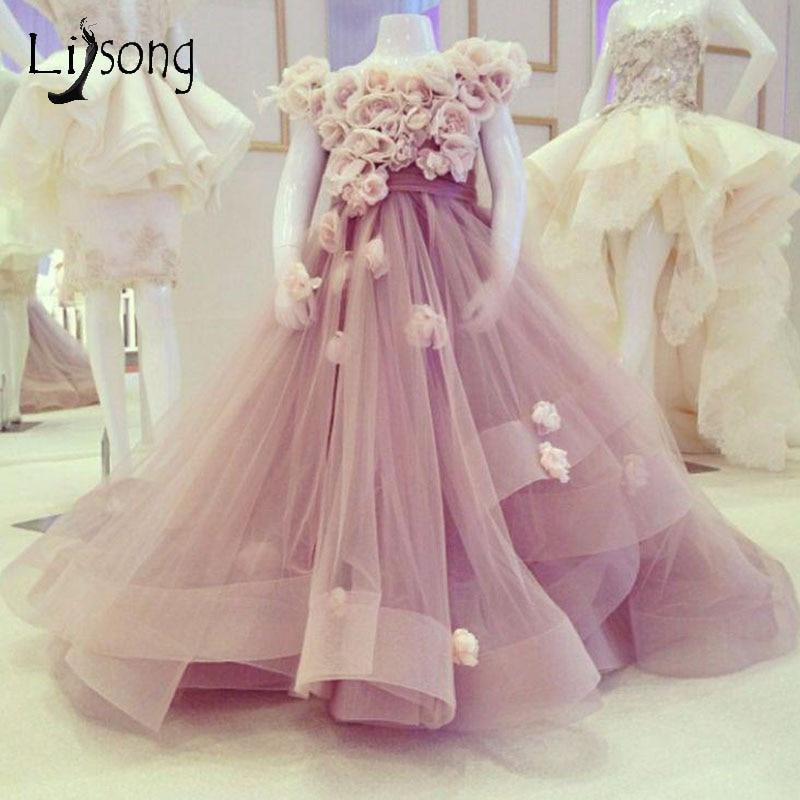 Blush Pink 3D Flower Pageant Dresses For Girls Puffy Organza Ruffles Long Flower  Girl Dresses Kids a19f9d2a4886