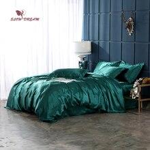 SlowDream Green Solid Color Bedding Set Double Queen Comforter Cover Flat Sheet Bed Linens Pillowcase Decor Home Bedclothes