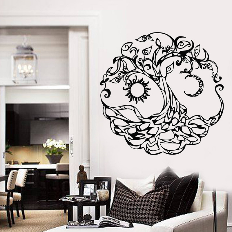 Vinyl Wall Decal Tree Of Life Sun Moon Home Room Decor Stickers Mural For Living Room Decoration Hot Selling DIY B701