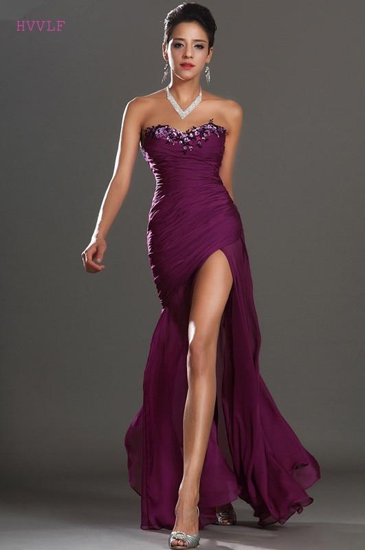 Purple Evening Dresses 2019 Mermaid Sweetheart Chiffon Beaded Slit Sexy Plus Size Long Evening Gown Prom