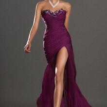 Фиолетовые Вечерние платья Русалка Милая шифон бисерный разрез сексуальный размера плюс длинное вечернее платье Выпускные платья Robe De Soiree