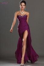 Purple Evening Dresses Mermaid Sweetheart Chiffon Beaded Slit Sexy Plus Size Long Evening Gown Prom Dresses Robe De Soiree