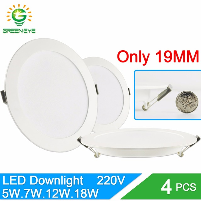 Green Eye Ultra thin led downlight lamp round panel light 3w 5w 7w 12w 18w AC 220V 240V 2835SMD led ceiling recessed downlight