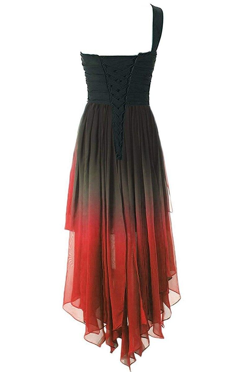 JaneVini mode 2019 haut bas dégradé en mousseline de soie longue robes de demoiselle d'honneur une épaule cristal perlé dos nu robes de soirée formelles - 4