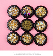 1 Box Mixed Gold Nail Rivet Shell Star Moon Design Jewelry 3D Art Decoration