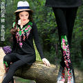 Ethnic leggings 2017 women autumn winter bohemian Mexico style hippie long black blue white embroidery leggings pencil pant