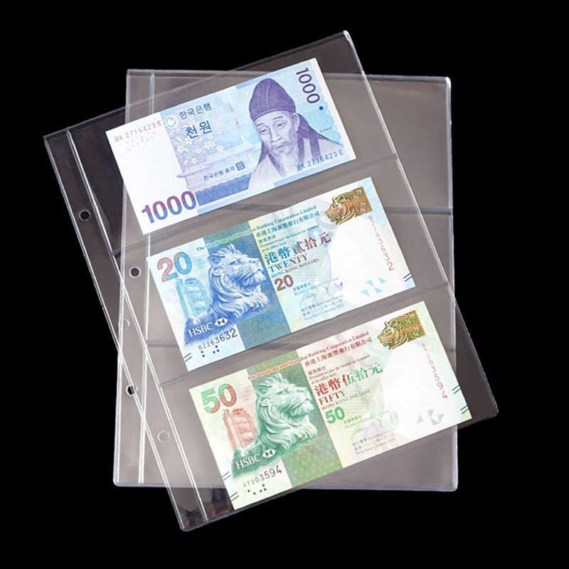 10 Pcs / Pack Transparent PVC Album Pages 3 Pockets Money Bill Note Currency Holder Collection Photo Albums Folders