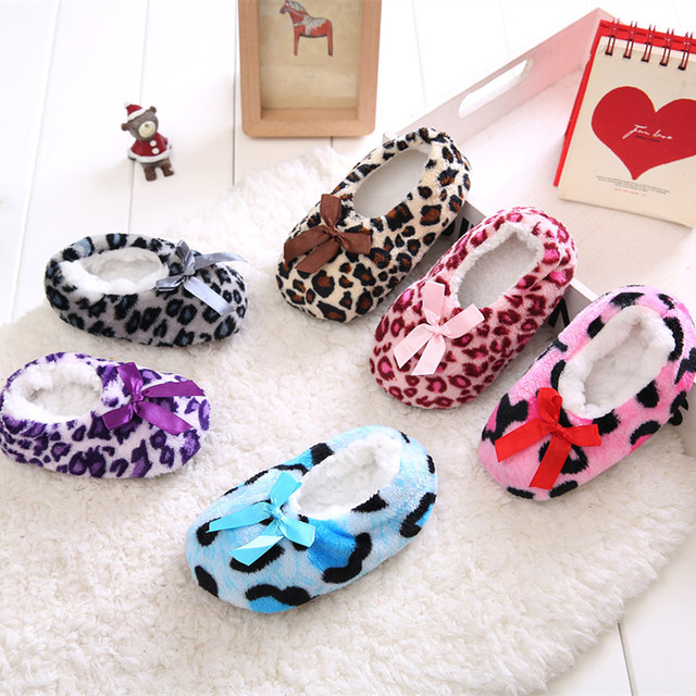 cc15a4497 Kids Home Soft Plush Leopard Slippers Coral Fleece Indoor Home Shoes ...