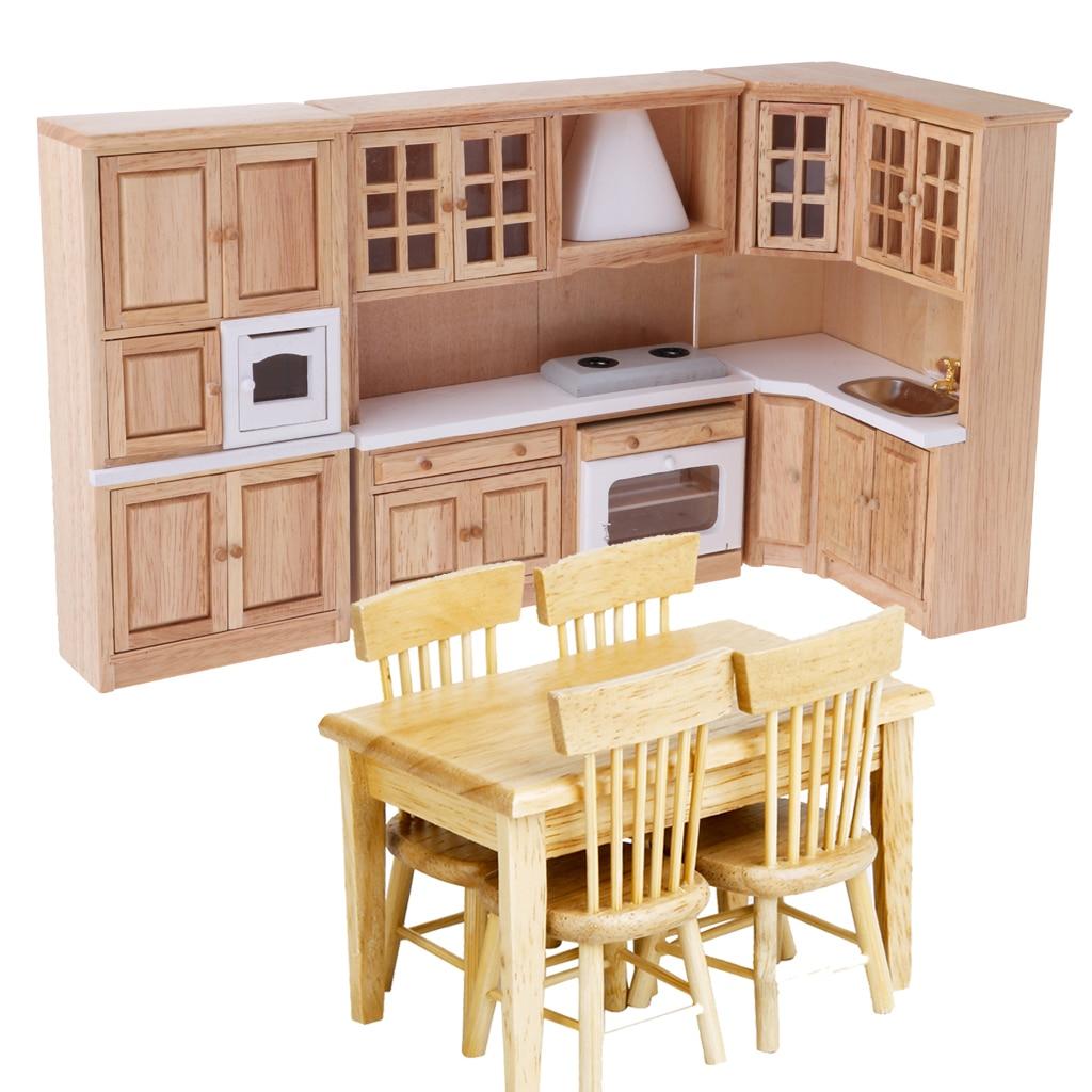 Oyuncaklar ve Hobi Ürünleri'ten Mobilya Oyuncakları'de Boyasız 1/12 Dollhouse minyatür mobilya Ahşap Mutfak Dolabı Masa Sandalye Model Yemek Odası Dekor Aksesuarları'da  Grup 2