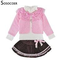 SOSOCOER Toddler Girls Clothing Set Spring Autumn Lace Coat Long Sleeve T Shirt Skirt 3pcs Outfits