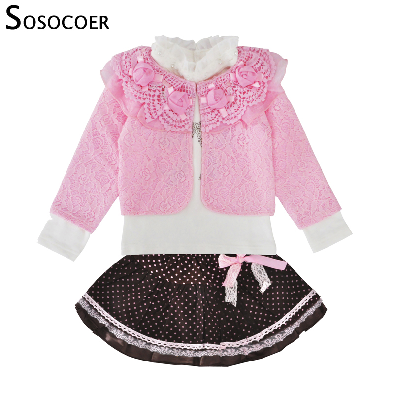 SOSOCOER Toddler Girls Clothing Set Spring Autumn Lace Coat Long Sleeve T Shirt Skirt 3pcs Outfits Kids Baby Girl Clothes Set newborn toddler girls summer t shirt skirt clothing set kids baby girl denim tops shirt tutu skirts party 3pcs outfits set