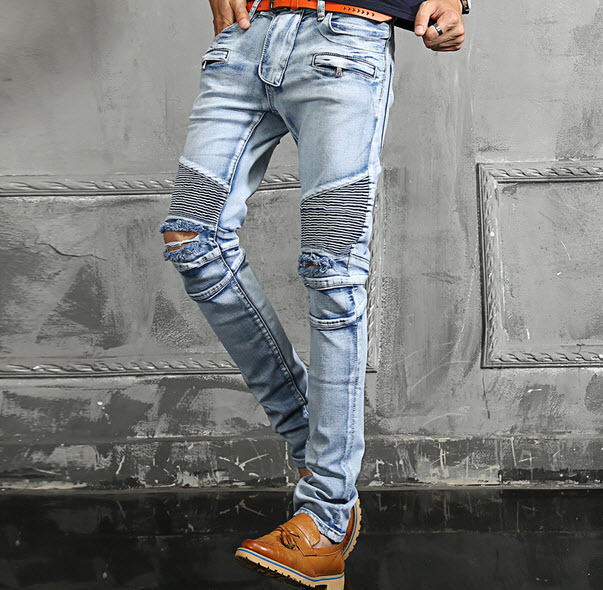 #1406 Large size Ripped jeans for men Fashion Casual Biker denim jeans Hip hop Denim moto jeans Homme High quality brand