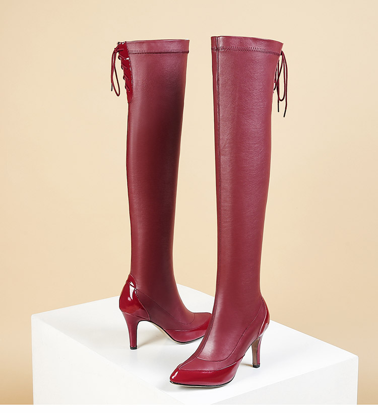 c42d90eb998cc Phoentin Red Over The Knee Boots Leather Thin High Heels 2019 Hot ...