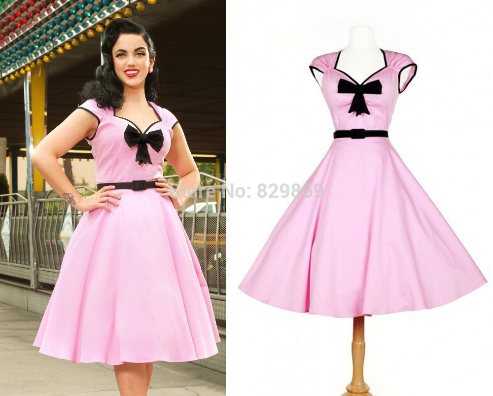 Fashion Vintage Women Pink Cute Girl Sexy Slim V Neck Bows Retro ...