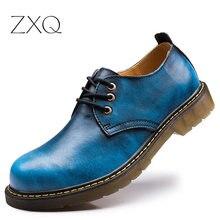 2016 Nuevo de Alta Calidad de Los Hombres de Cuero Genuino Zapatos de Punta Redonda Grande de cargadores de los Útiles Cabeza Zapatos Oxford Para Los Hombres Más El Tamaño 38-47