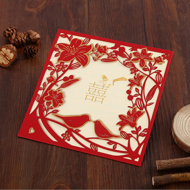 Us 7 49 25 Off 25pcs Red Laser Cut Lovebird Wedding Invitations Card Stamping Elegant Greeting Envelopes Party Favors Decoration In