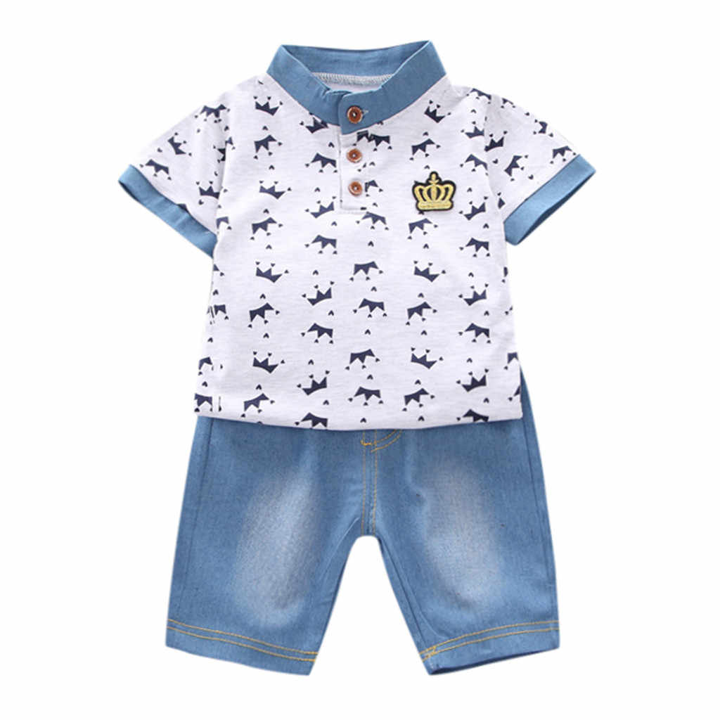 طفل رضيع ملابس الصيف 2019 تاج تي شيرت + الدنيم السراويل السراويل مجموعات ملابس الأطفال ملابس الطفل للبنين 1 2 3 4 5 سنوات