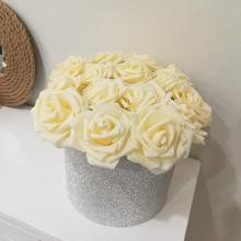 10 Heads 8cm Handmade Foam Rose Artificial Flowers Bride Bouquet Wedding Decoration Mariage Flores Rosa DIY Wreath Craft