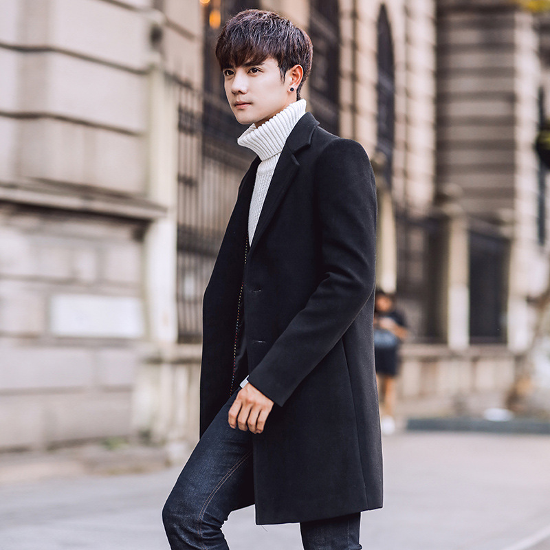 78ae187ea60 Autumn Wool Long Overcoat Men Korean Slim Fit Solid Black Single Breasted  Turn-down Collar Trench Coat Winter Plus Size 5XL