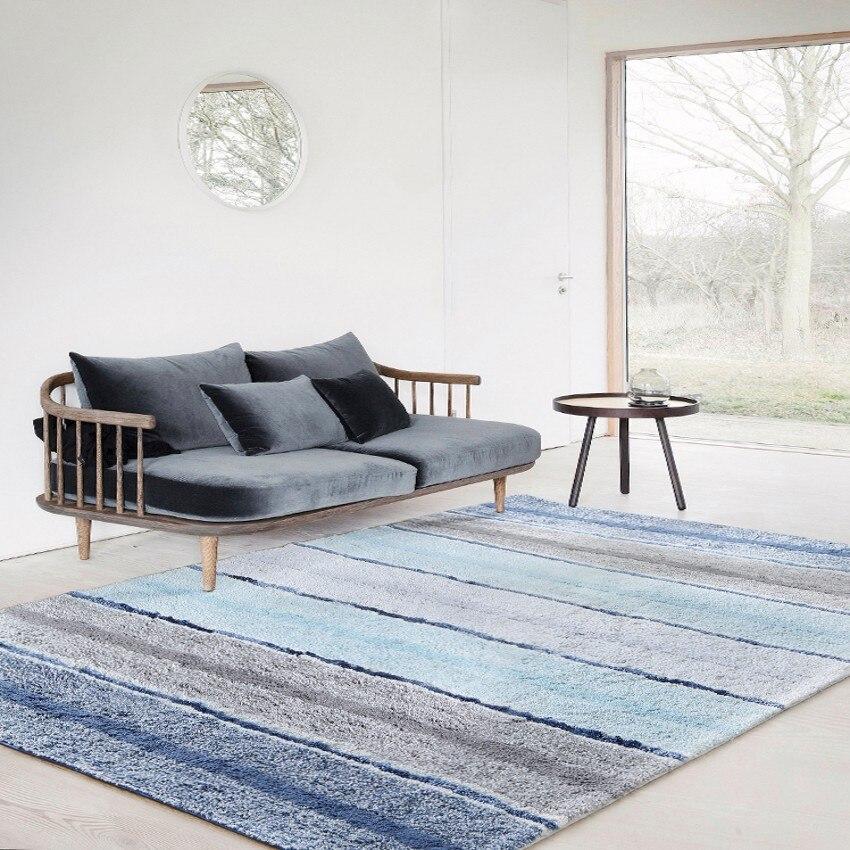 Tapis de chevet fait main en coton épaissi rayé, tapis de table basse de salon, tapis de sol de décoration nordique de grande taille